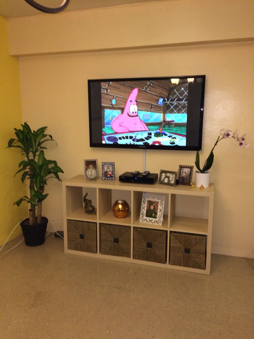 Ikea Kallax Made As A Tv Stand Small Apartment Decorating