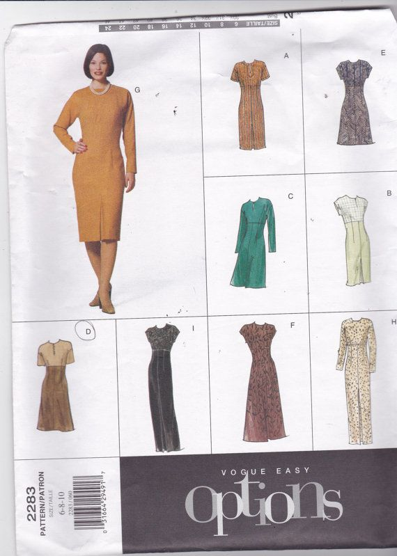 Vogue Easy Options 2283 Vintage Pattern Womens Semi- Fitted Dress in ...