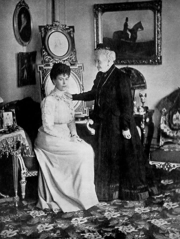 Queen Mary of Great Britain (1867–1953) with her aunt Grand Duchess Augusta of Mecklenburg-Strelitz (1822-1916)