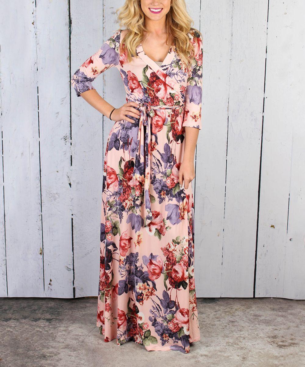 7afef64ea5 Pink Floral Tie-Front Wrap Maxi Dress