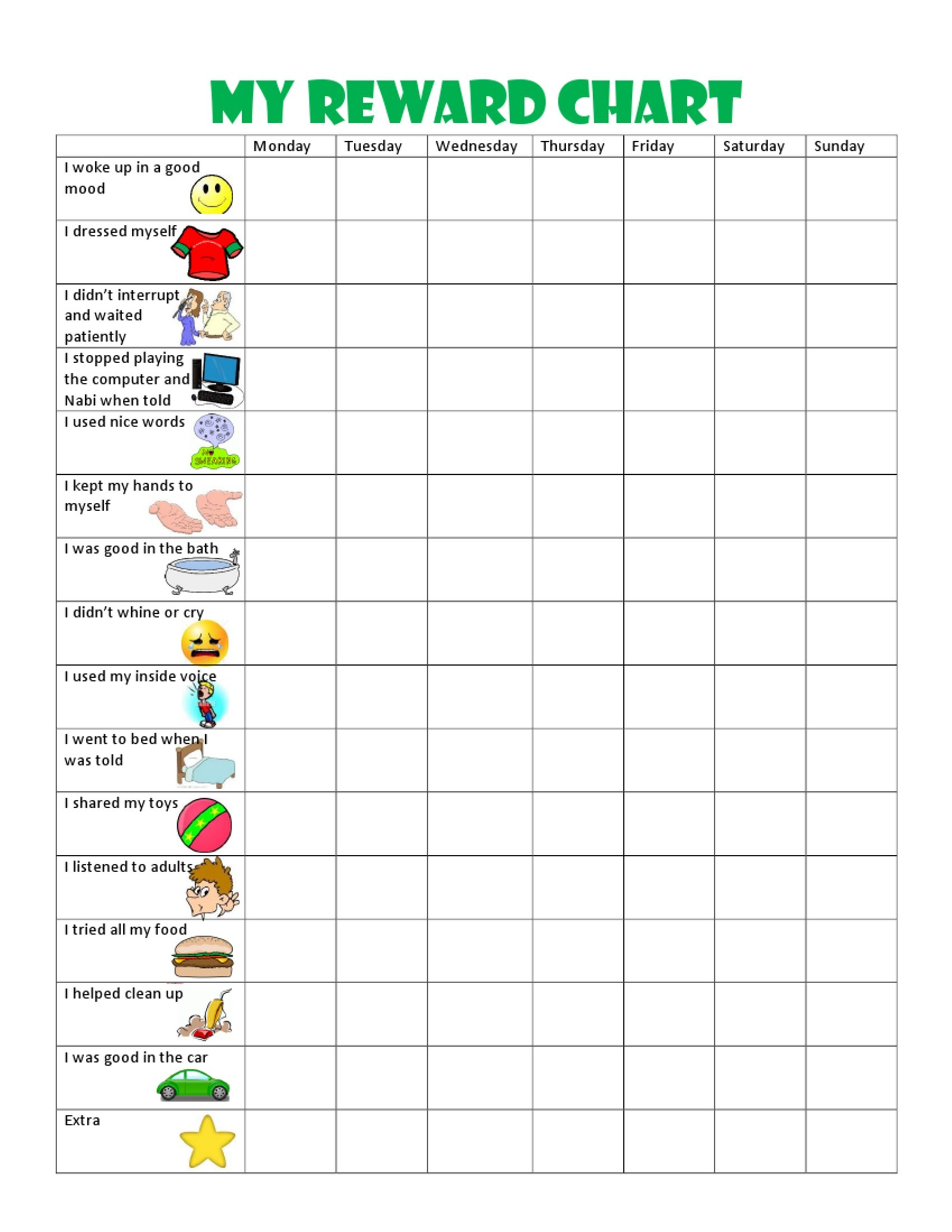 image result for free printable behavior charts for 6 year