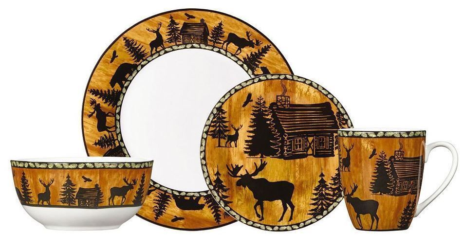 Wildlife Dinnerware Sets Rustic Cabin Lodge Wilderness Nature Casual 16 Piece S  sc 1 st  Pinterest & Wildlife Dinnerware Sets Rustic Cabin Lodge Wilderness Nature ...