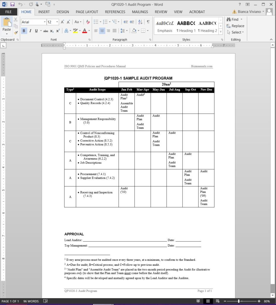 Audit Program Iso Template  Audit Templates  Vvd