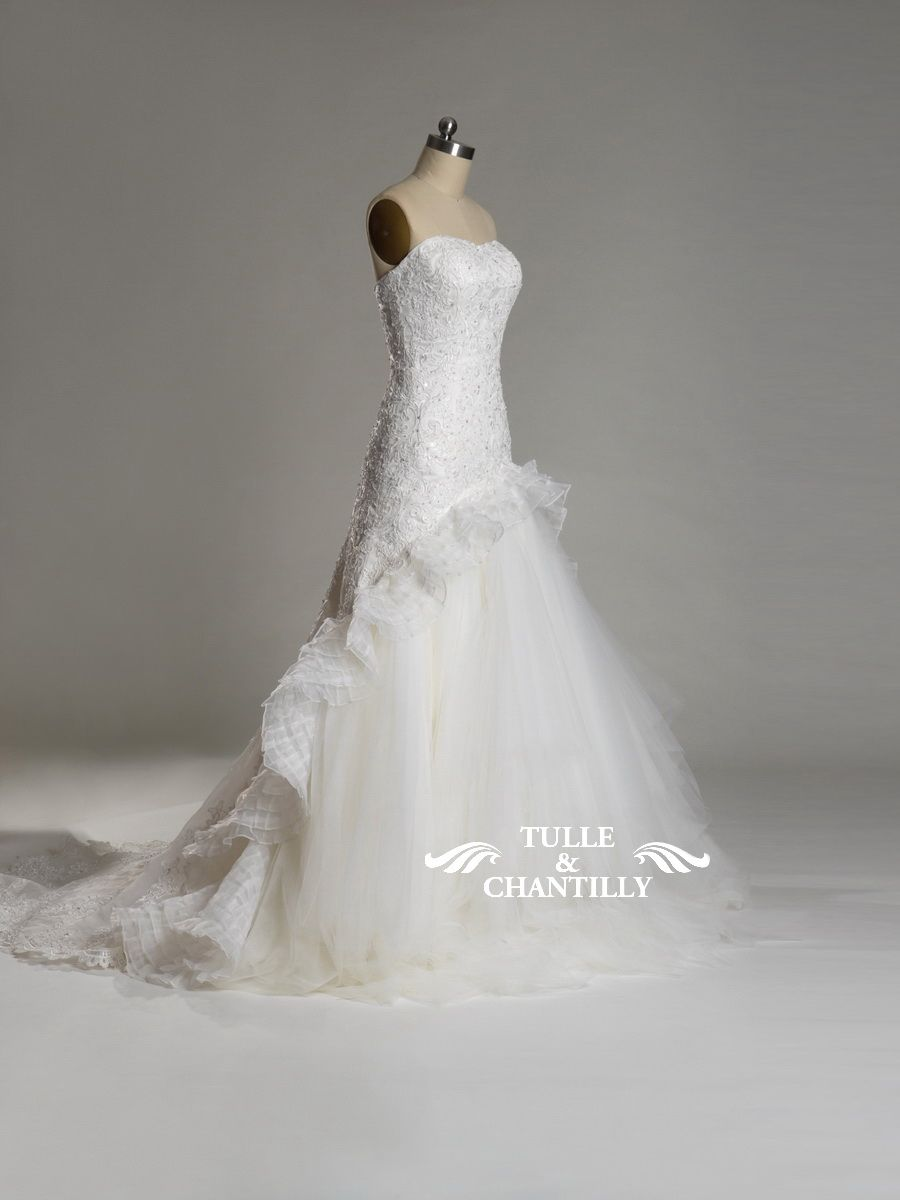 Bright- Strapless Multi-layer ruffled Tulle and Lace Wedding Dress ...