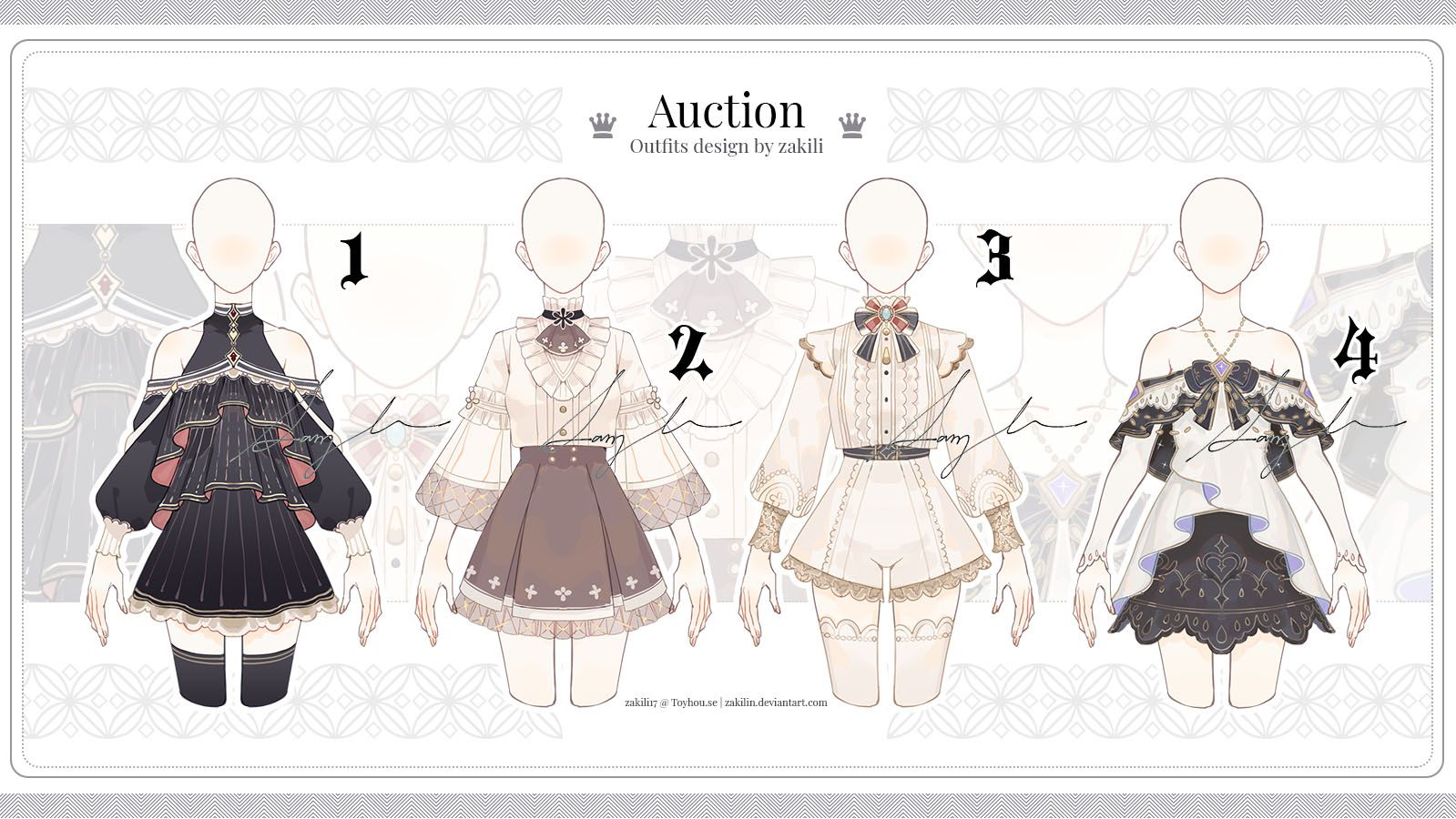 Adoptable Auction Outfits Set01 Close By Zakilin On Deviantart Drawing Anime Clothes Art Clothes Anime Outfits