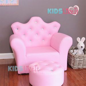 Amazing Pink Girls Toddlers Bone Leather Crystal Princess Sofa Kids Chair W  Footstool | EBay