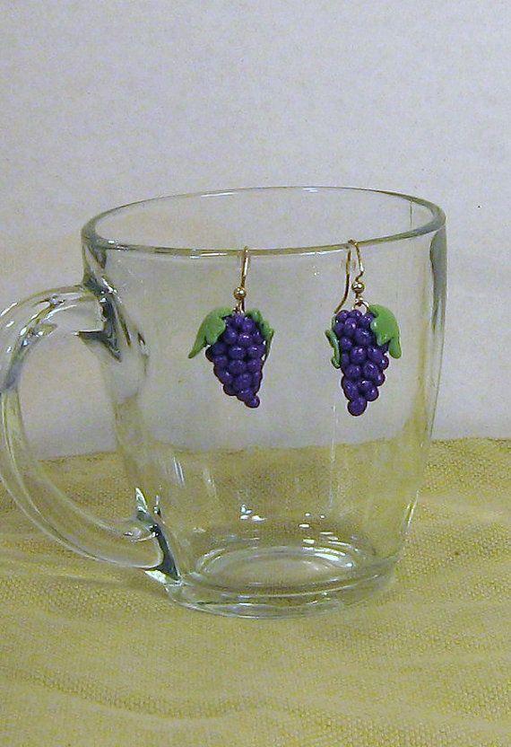 Purple grape earrings by GingerbreadFaire on Etsy