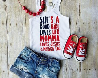 Red White and Blue Patriotic Tank of July Tank She's a Good Girl Tank Flutter Shirt
