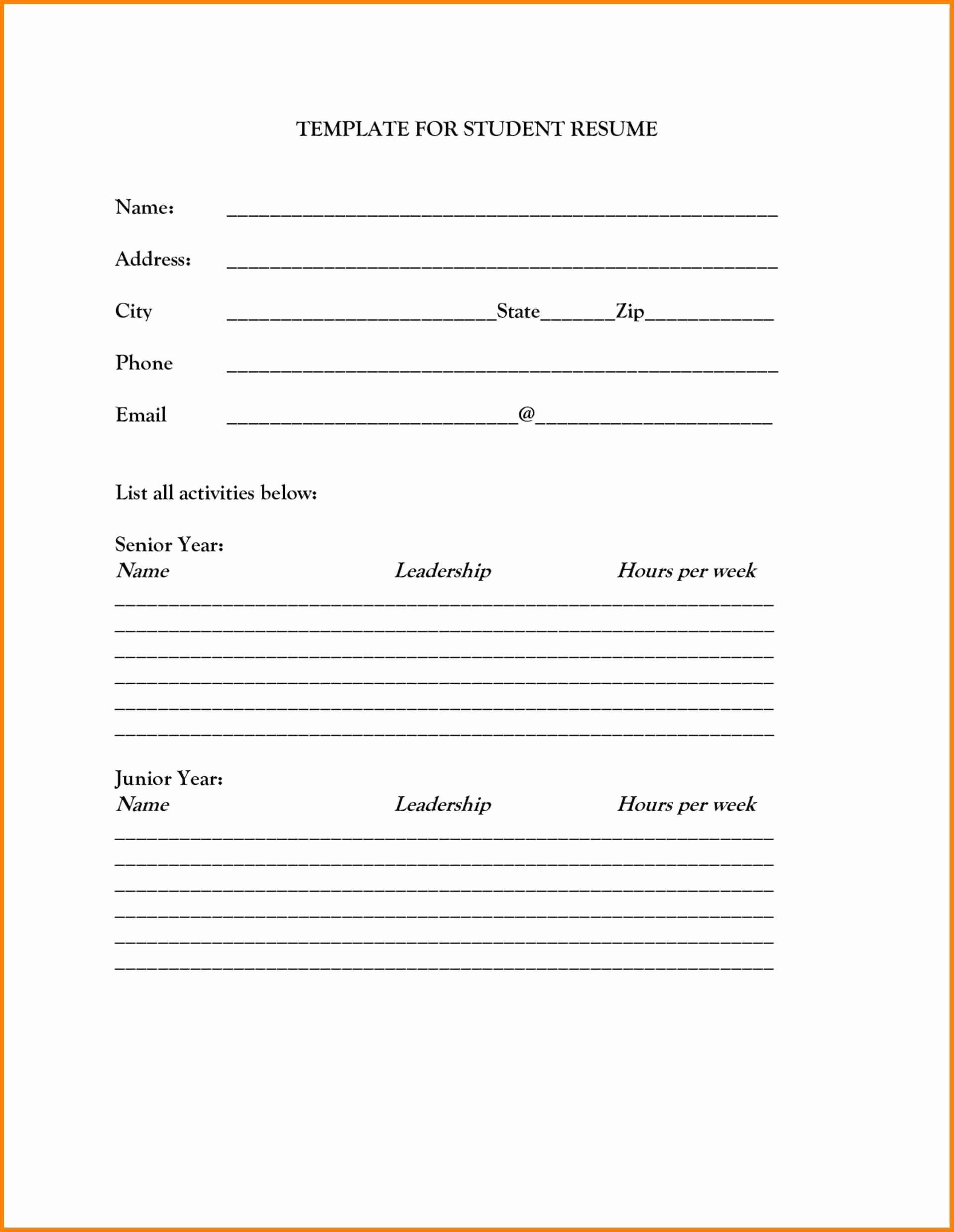 Free Printable Resume Templates Elegant Blank Resume Template Printable Free Printable Resume Templates Resume Form Cv Template Download
