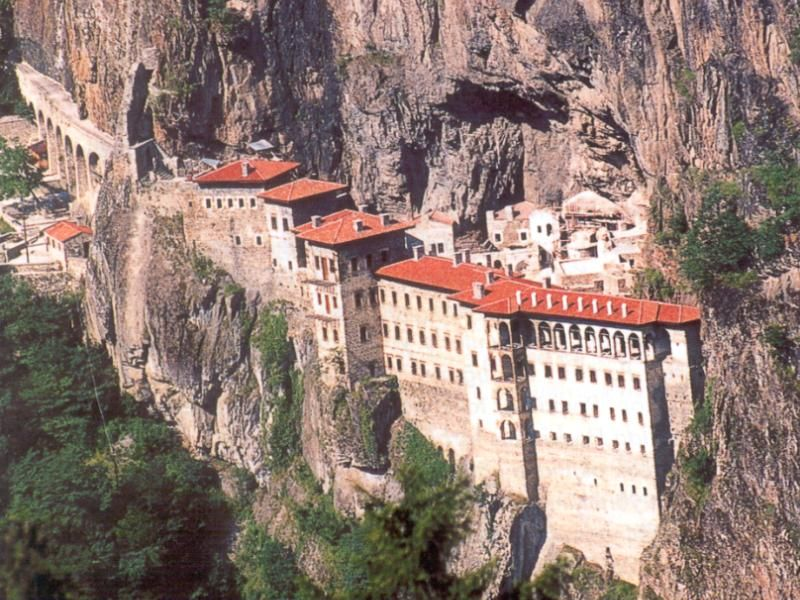 The Sümela Monastery at Melá mountain is a Greek Orthodox monastery, standing at the foot of a steep cliff facing the Altındere valley, in the region of Maçka in the Trabzon Province of modern Turkey. At an altitude of about 3,900 ft, it is a major tourist attraction of Altındere National Park.