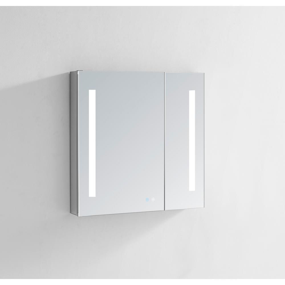 Aquadom Signature Royale 36 In W X 30 In H Recessed Or Surface Mount Medicine Cabinet With Bi View Doors And Led Lighting Lighted Medicine Cabinet Surface Mount Medicine Cabinet Medicine Cabinet
