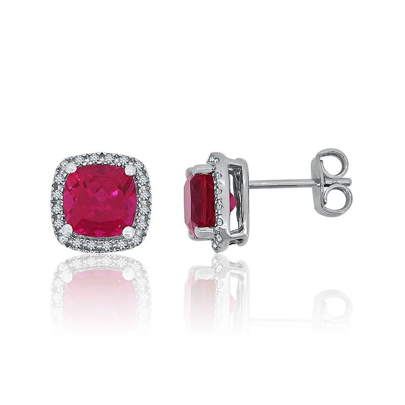279a07ecd Lab-Created Ruby & Lab-Created White Sapphire Sterling Silver Halo Stud  Earrings
