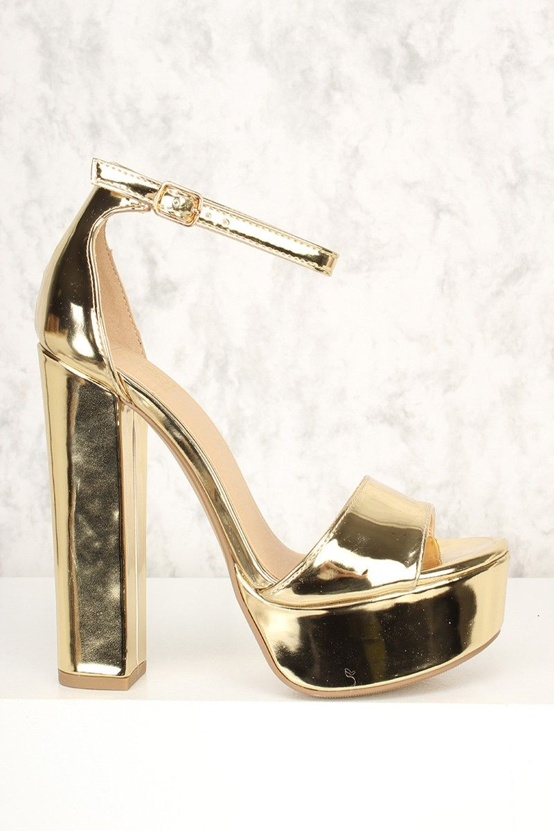 d4fed432b03e Sexy Gold Open Toe Round Platform Chunky High Heels Patent Faux ...