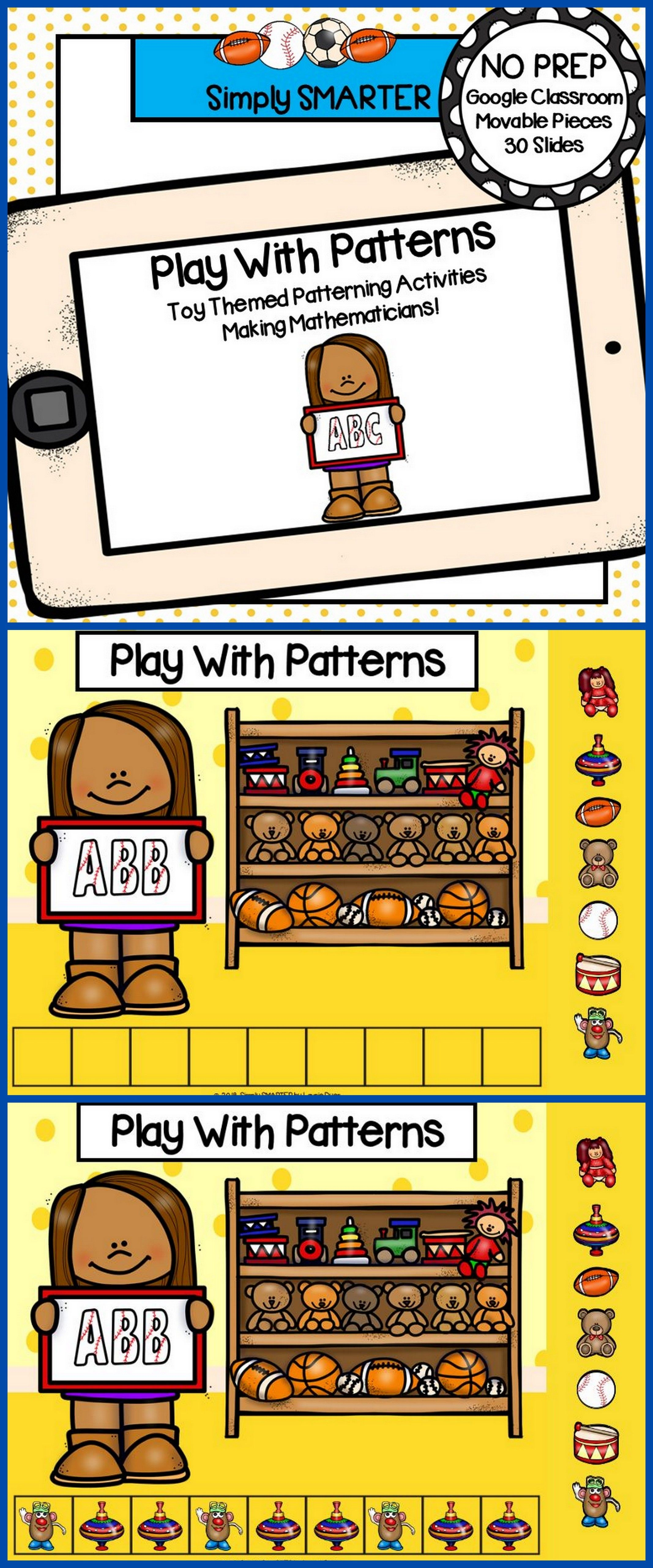 Toy Themed Patterning Math Activities For Classroom