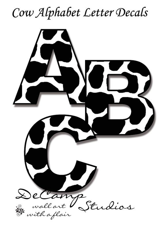 Cow Alphabet Letters Wall Art Decals for barnyard farm theme baby ...