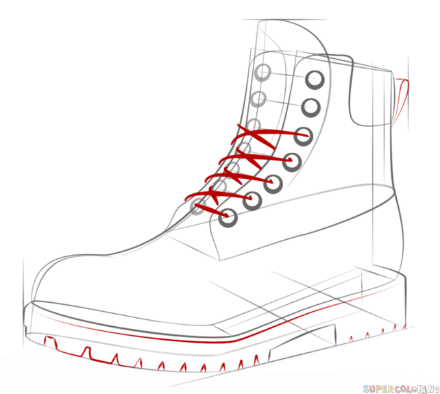 How to draw a hiking boot step by step. Drawing tutorials