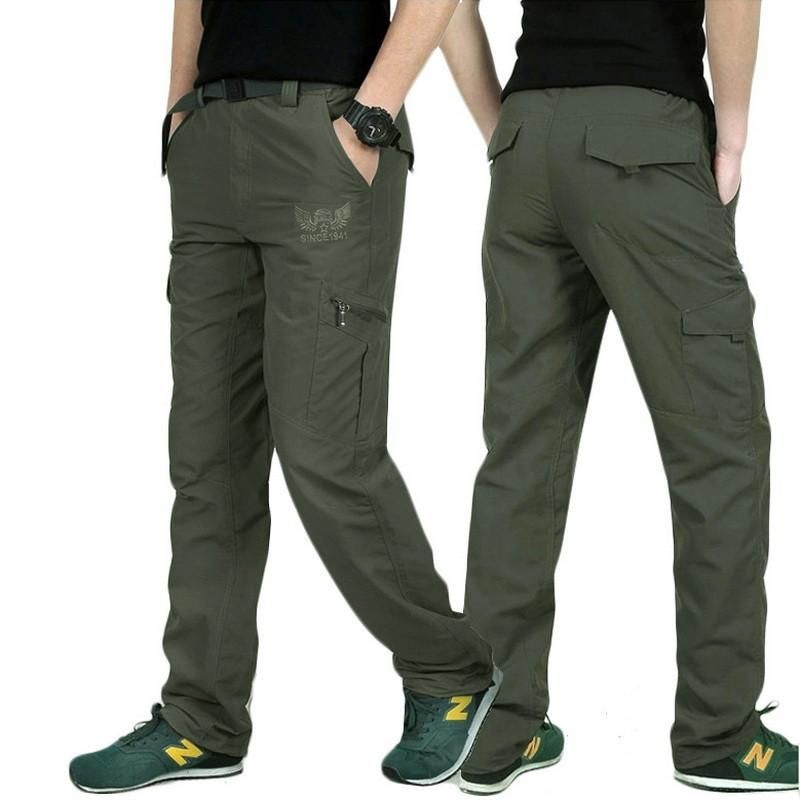 Spring Casual Mens Military Army Cargo Straight Combat Long Trousers Loose Pants