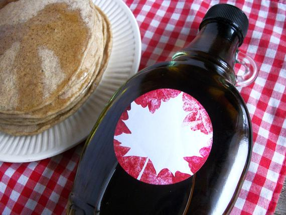Blank Red Leaf Maple Syrup Labels For Backyard Sugaring Round