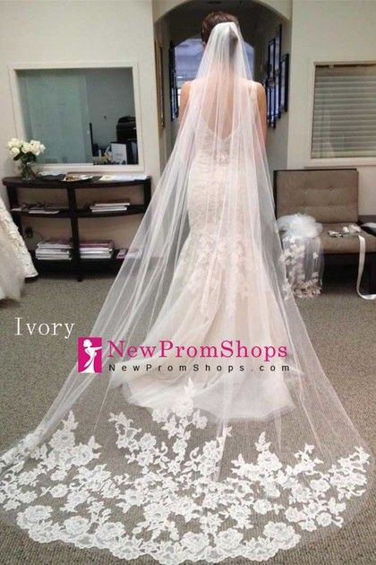 2016 Gorgeous Two-Tier Wedding Veils With Applique 3 Meters