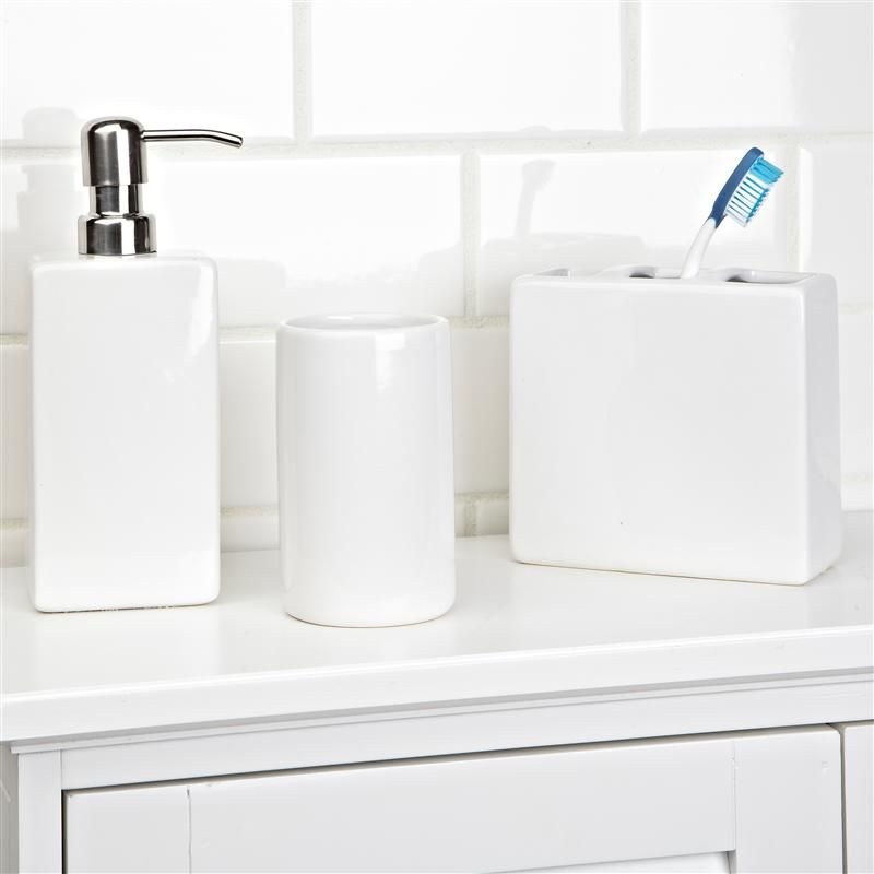 Nova Ceramic Bath Accessory Combo Set 3 White Kitchen Stuff Plus