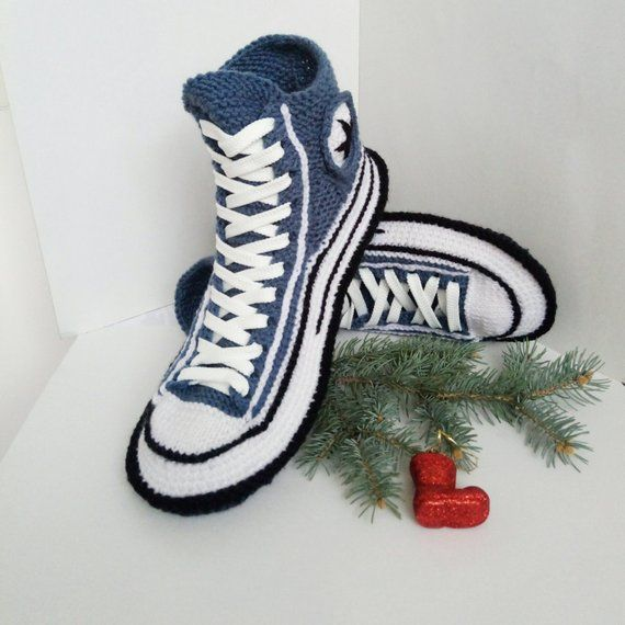 8dc536af1cd47d Wool men s socks House slippers men Converse socks slippers Crochet  converse boots Knitted converse