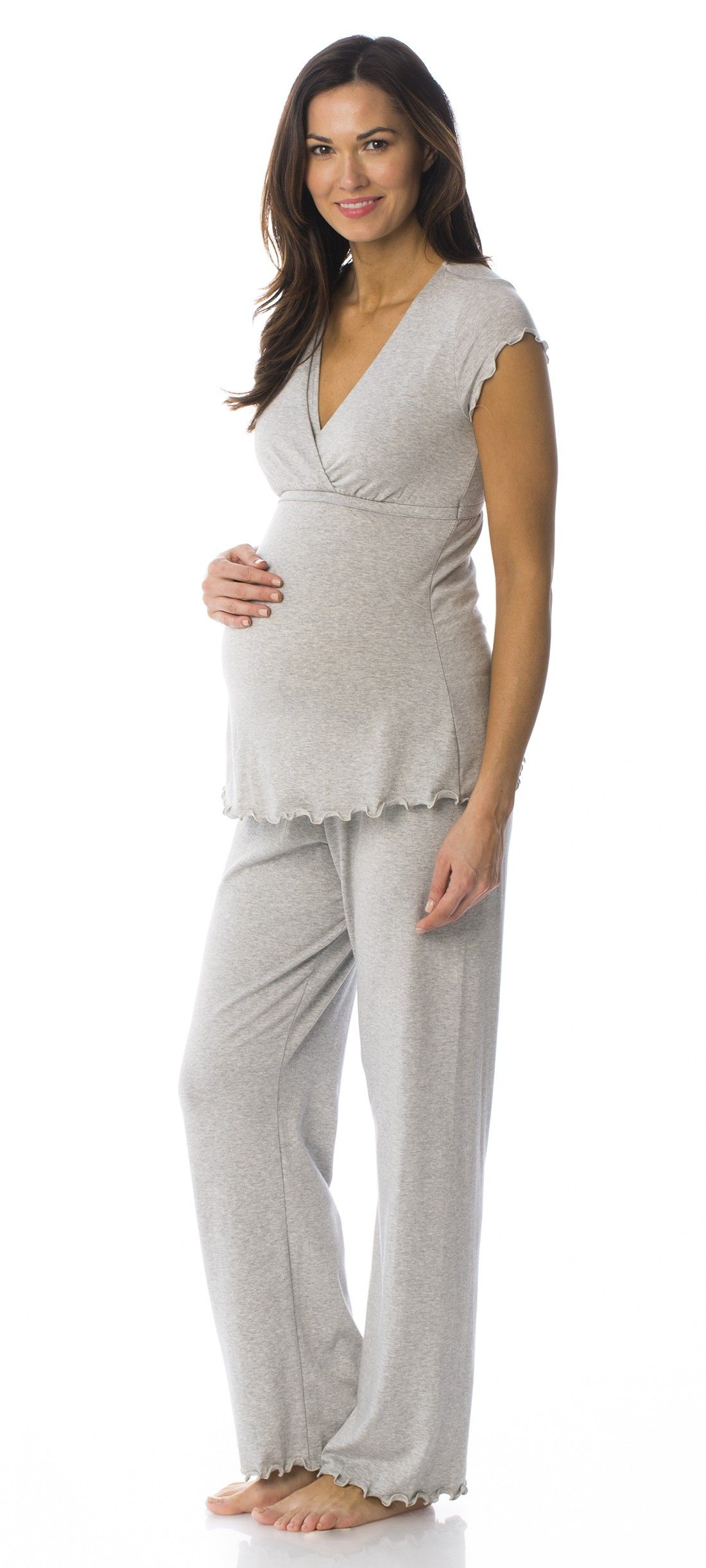 cc8119d3b8938 versatile eco friendly bumpstyle // MAJAMAS // comfy cozy PJs, sleepwear &  pajamas // cotton modal grey maternity top with nursing access for mama &  long ...