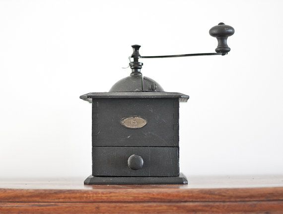 French coffee grinder French country kitchen Rustic farmhouse Manual grinder Antique french Peugot wood coffee grinder with brass cover