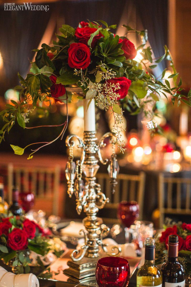 Tall gold candelabra red rose wedding centerpiece! | AN ELEGANT ...