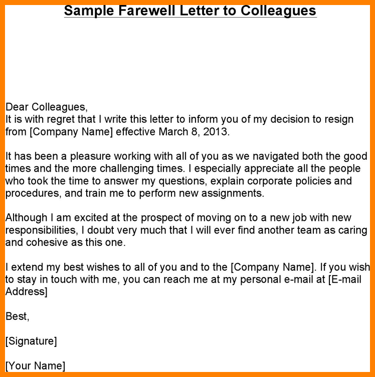 Farewell Email To Coworkers Farewell letter to