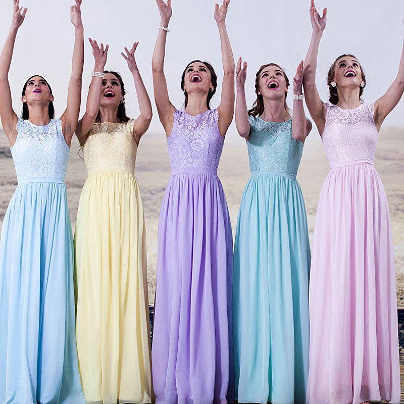 a3de5ee007921 Yellow Light Blue Purple Sky Blue Bridesmaid Dresses Vestido Madrinha Mint  Green Purple Vestido De Festa De Casamento Long Wedding Dress