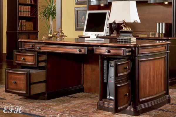 Perfect Executive Computer Desk New Huntington Cherry Finish Wood Home Office