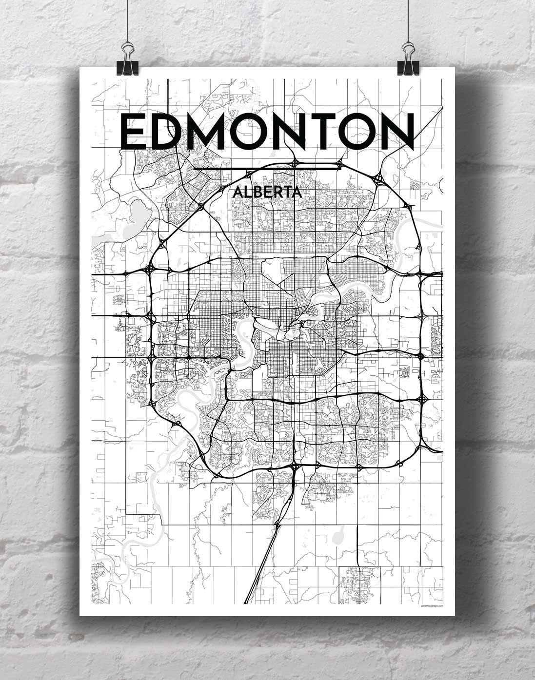 Edmonton Neighbourhoods Typography City Map Printed by Hand