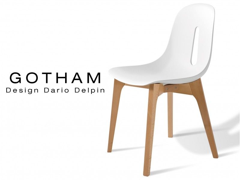 GOTHAM Chaise Design Assise Bicolore Pitement Bois Naturel Plastique