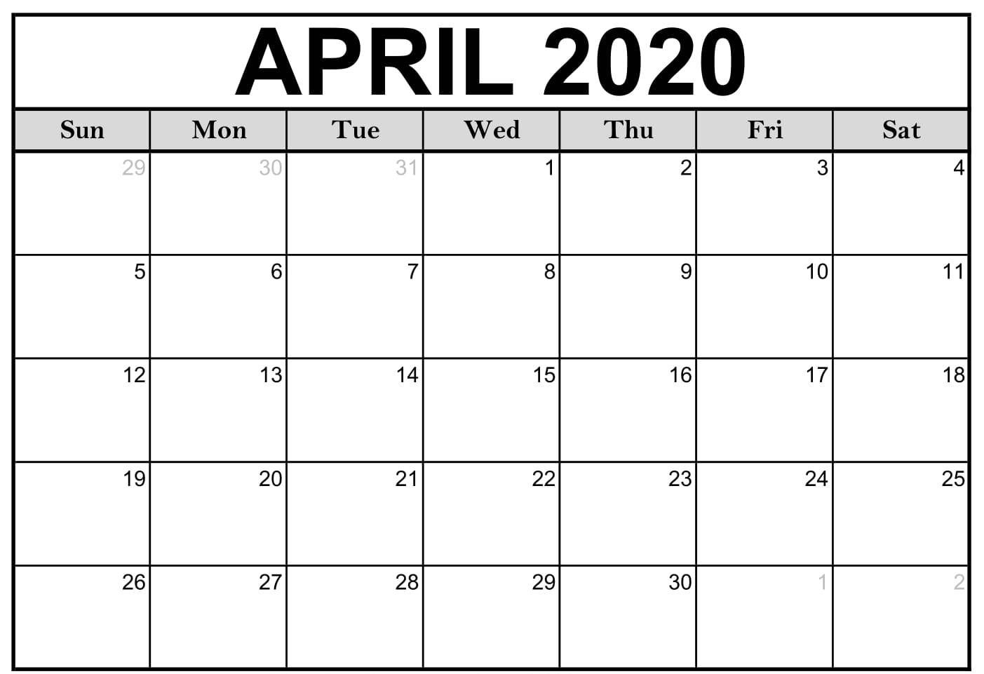 Printable Monthly 2020 Calendar Blank Template With Notes 2020