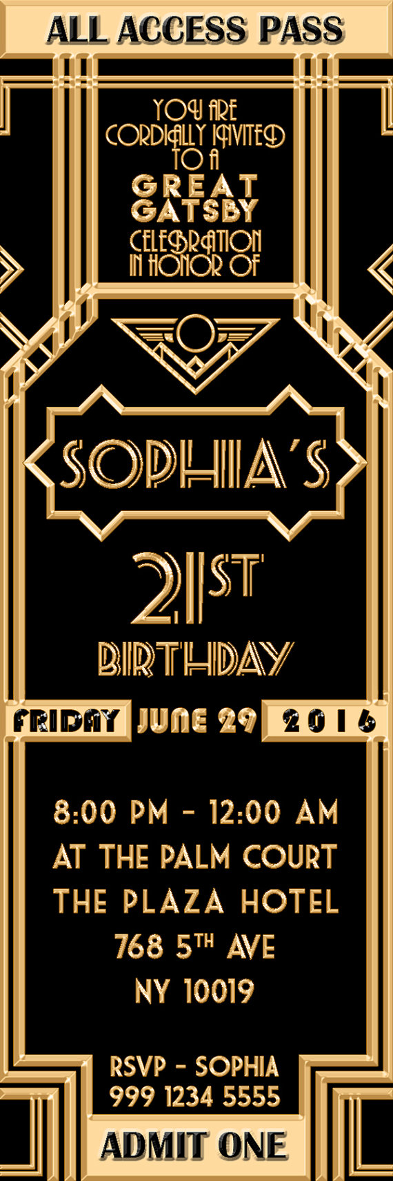 Great Gatsby Invitation Ticket Birthday By LearnFromTheMaster
