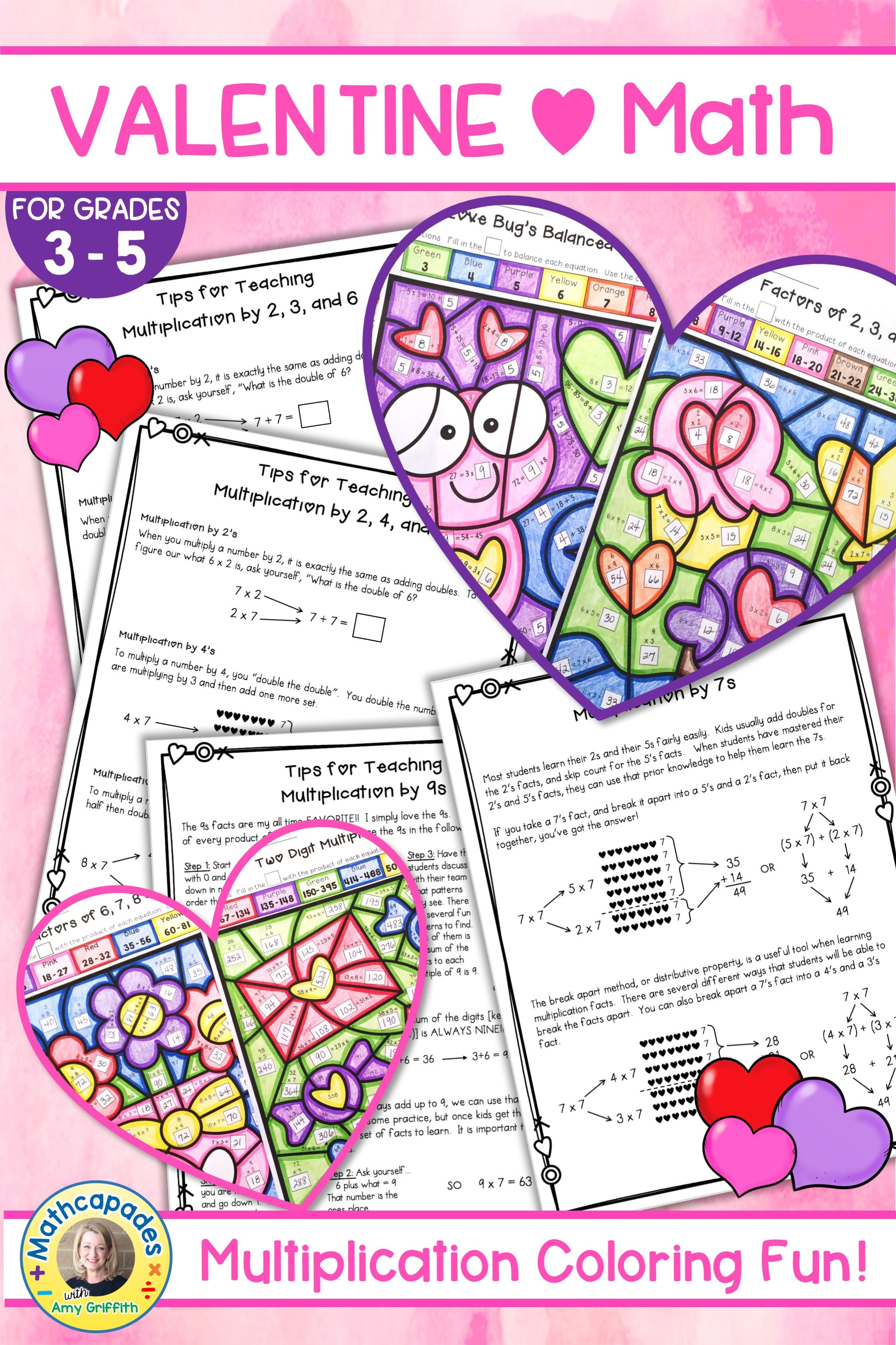 Valentines Day Multiplication Color by Number | Multiplication ...