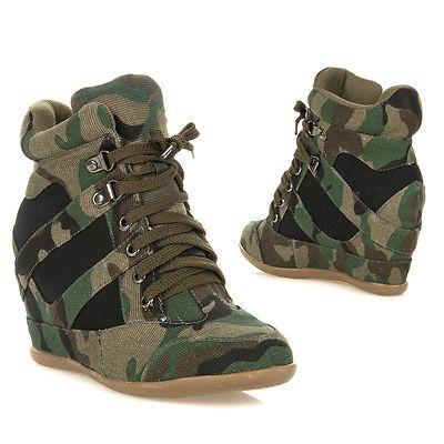 90f3b19f0aca New Womens High Top Hidden Wedge Lace Up Wedge Sneaker Bootie Dana 13 Green  Camo