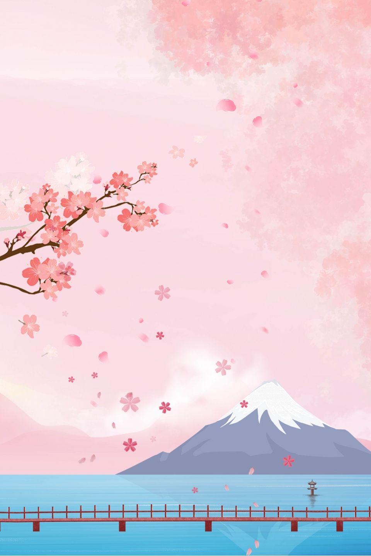 Japanese Fuji Mountain Cartoon Background Poster