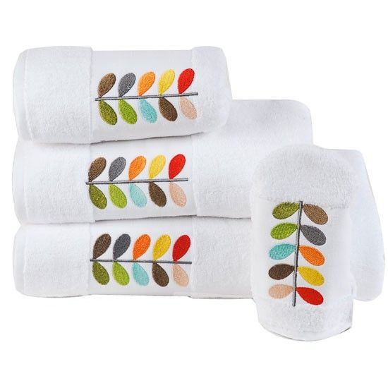 Orla Kiely Multi Stem Embroidered bath towels & mitt set from .