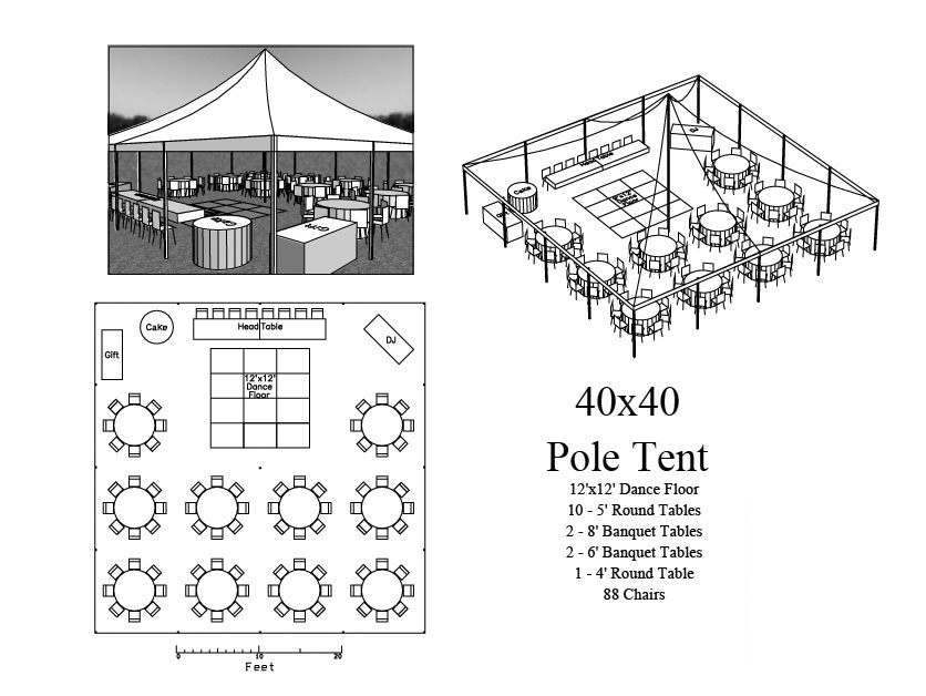 Seating layout 40x40 tent 88 chairs special day for Wedding tent layout design
