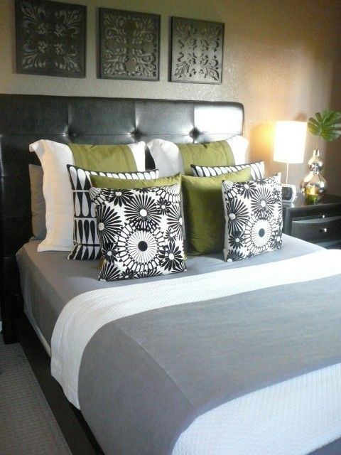 We have this head board multi gray comforter trying to - Green and grey bedroom ...