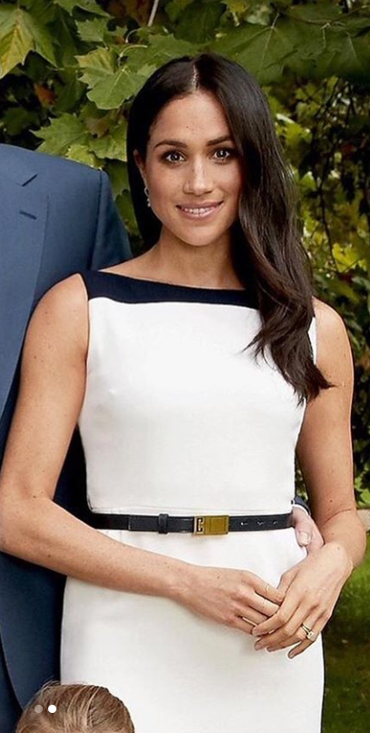 Who Made Meghan Markle S White Dress And Black Belt Black Belt Outfit White Dress Black Belt