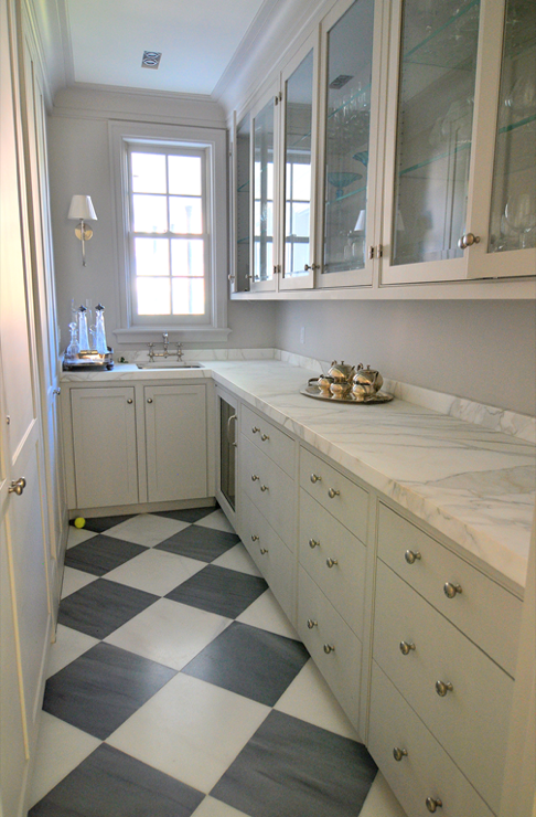 Amazing galley butler's pantry with white & black