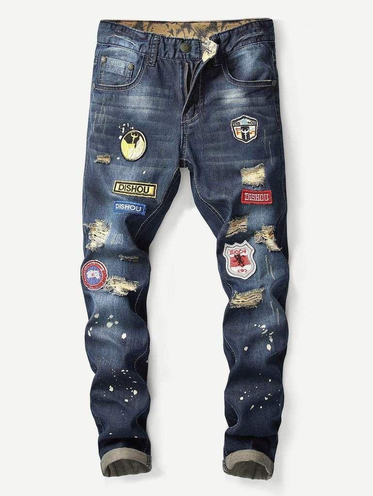 488f68ed62d9 Men Paint Splatter Patched Jeans in 2019 | Men's Pants & Shorts ...