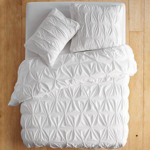 Organic Cotton Pintuck Duvet Cover Shams White West Elm