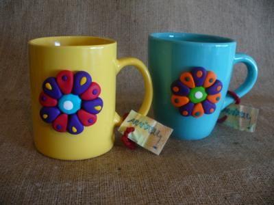 Tazas decorada con arcilla polim rica tazas desayuno for Arcilla para ceramica