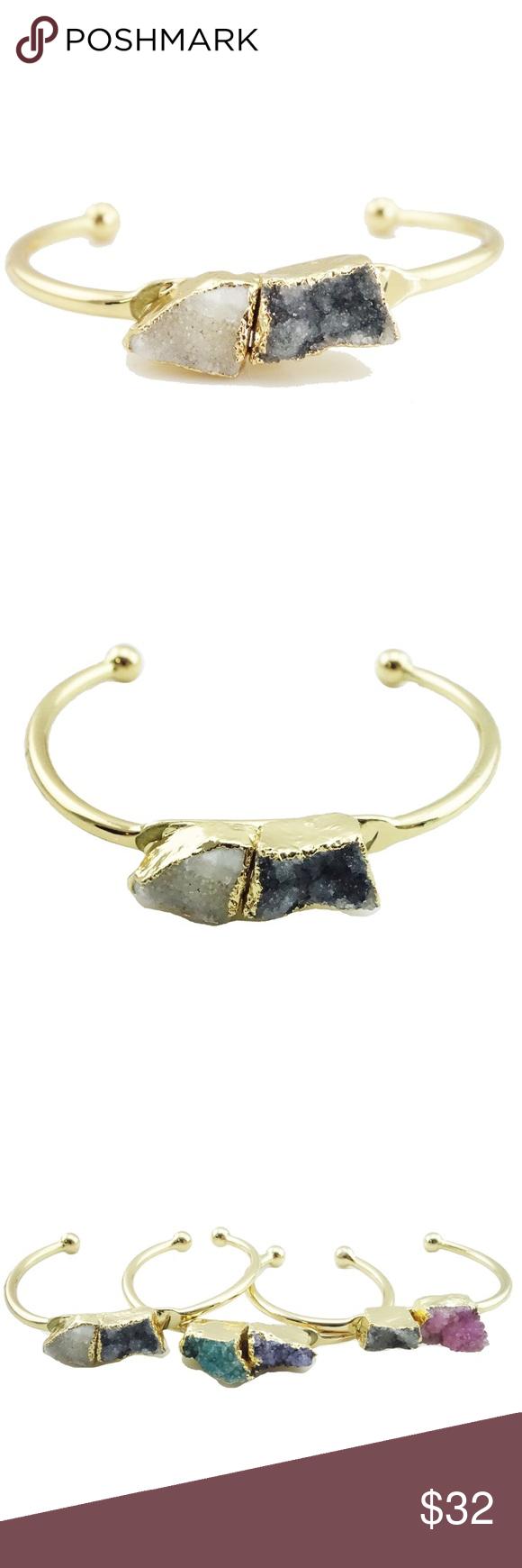 K gold plated druzy cuff bracelet blackwhite boutique my posh