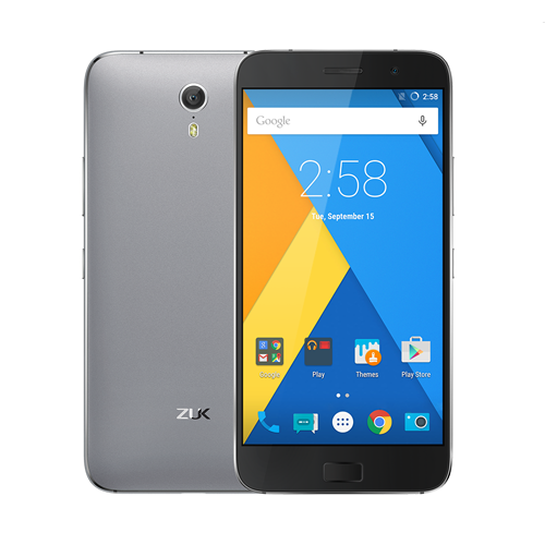 ZUK Z1 smartphone use 5.5 inch FHD screen with Snapdragon 801 2.5GHz processor, has 3GB RAM, 64GB ROM, 8MP front + Sony IMX214 back camera dual camera, installed Cyanogen OS 12.1, support 4000mAh battery and quick charger.