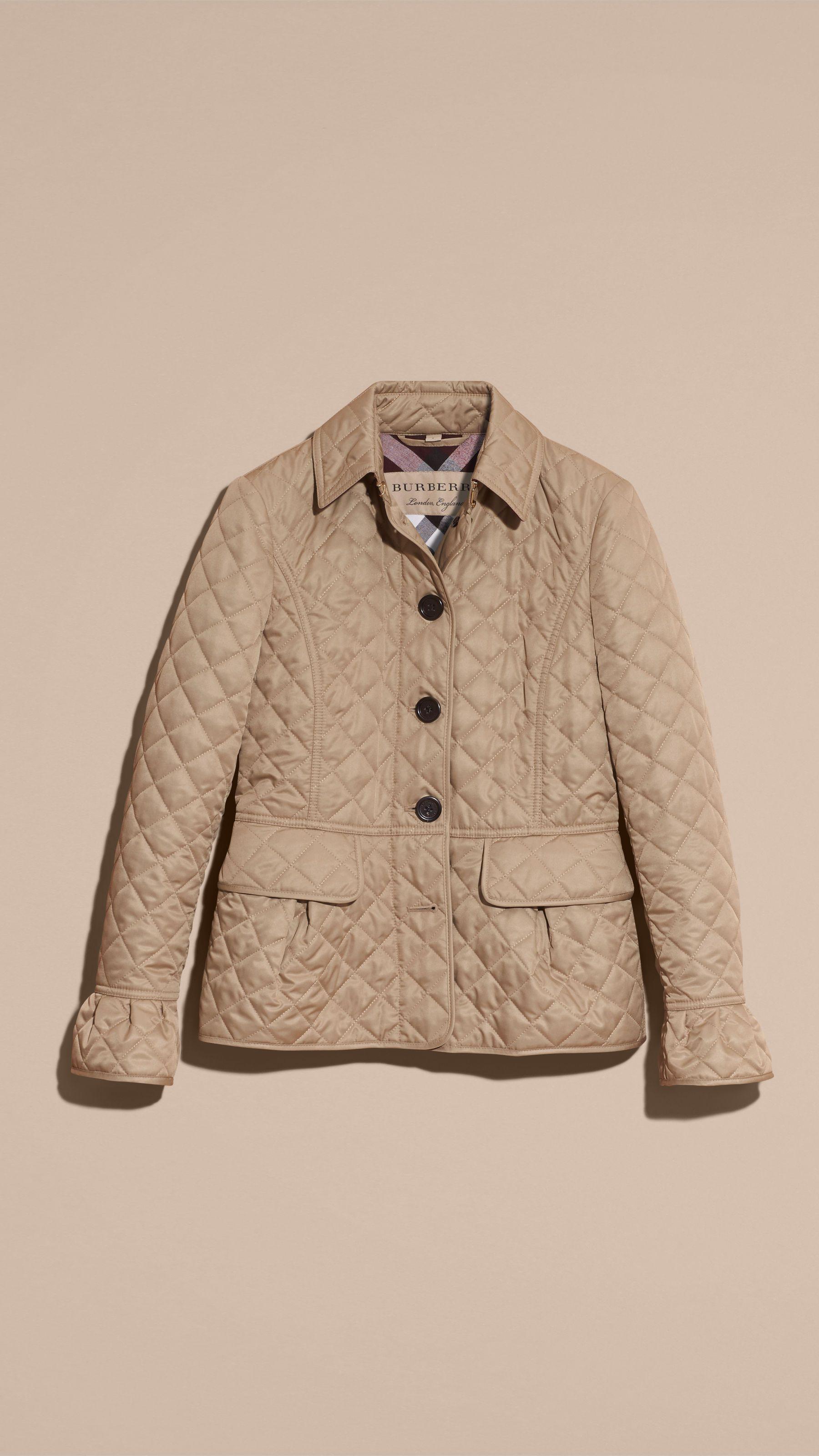 Diamond Quilted Peplum Jacket Canvas Burberry Quilted Jacket Jackets Quilted Coat