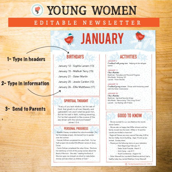 Monthly Newsletters  Editable  Yw    Young Women Pdf